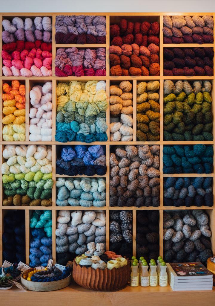 Yarn bookshelf storage